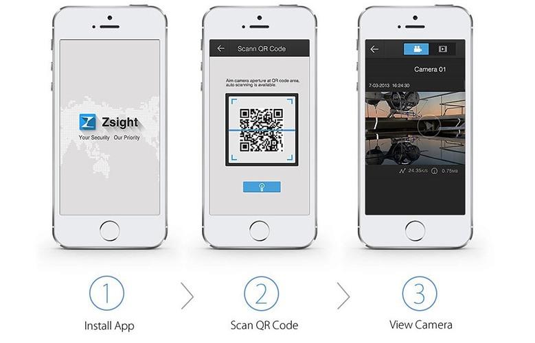 Три шага для быстрого включения через смартфон: скачать и установить приложение, сканировать QR-код и получить доступ к камерам