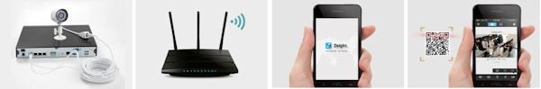 Четыре шага для быстрого включения через смартфон: установить и подключить камеры, скачать и установить приложение, сканировать QR-код и получить доступ к камерам