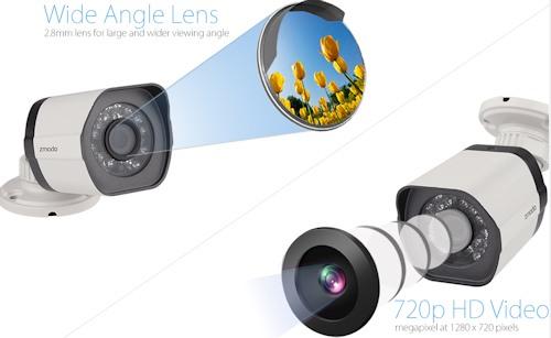 """Камеры видеокомплекта """"Zmodo PoE Улица"""" имеют матрицы на 1 Мп, что обеспечивает прекрасное качество снимаемого видео (нажмите на изображение, чтобы увеличить)"""