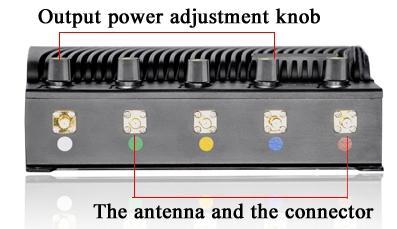 """Разъемы для подключения съемных антенн к подавителю связи """"СТРАЖ Х5 ПРО"""" расположены на боковой части прибора"""