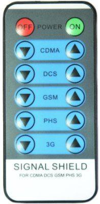 """Обозначение кнопок на пульте ДУ станционарного подавителя мобильной связи """"BlackHunter X5"""" говорит само за себя"""