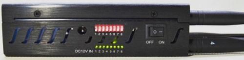 """На правой части корпуса прибора """"Страж Мини 4G"""" расположены включатели подавления каждого из восьми диапазонов и светодиоды, сигнализирующие о том, что блокировка активирована"""
