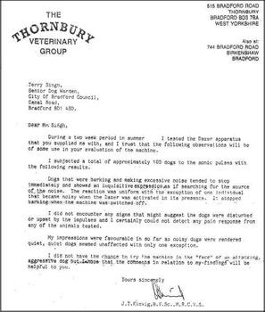 Официальное письмо от Ветеринарной группы Thornbury (США)