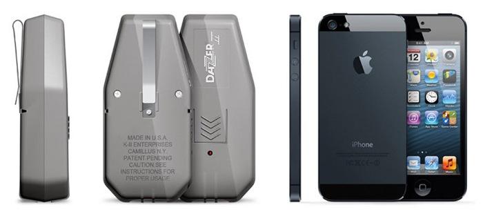 "Сравнение размеров отпугивателя ""Dazer II"" и iPhone"