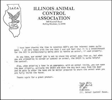 Официальное письмо из ассоциации по контролю за животными штата Иллинойс (I.A.C.A.)