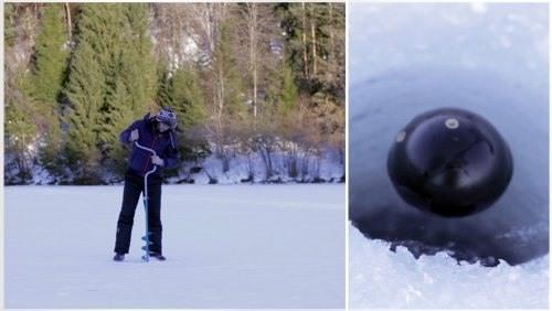 Эхолот 'Deeper Fishfinder' можно использовать во время зимней рыбалки