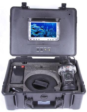 Видеокамера для рыбалки FishCam-360 хранится в надежном пластиковом кейсе