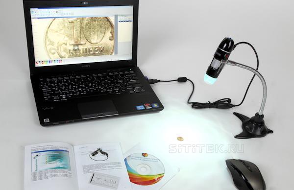 Просмотр увеличенного изображения с USB-микроскопа