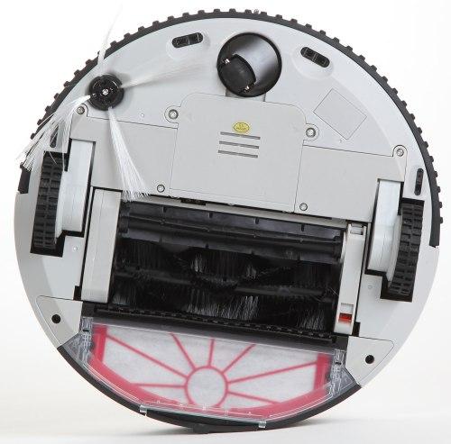 """Нижняя панель робота-пылесоса """"Robo-sos XR-510D"""" включает в себя два ведущих и одно рулевое колесо, систему щеток и датчики предотвращения падений"""