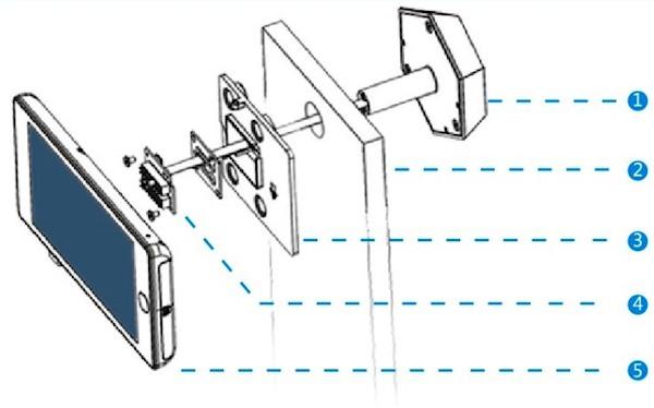 Схема  видеоглазка при его монтаже на дверь: 1 — внешний модуль, 2 — полотно двери, 3 — крепление для монитора, 4 — коннектор, соединяющий внешний модуль и монитор, 5 — монитор