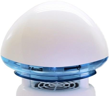 Верхняя часть корпуса, где находится ультрафиолетовая лампа, имеет оригинальный вид шляпки гриба