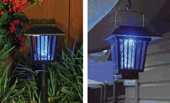 """Уничтожитель """"Садовый"""" можно устанавливать в землю при помощи стержня (слева) или подвешивать на манер фонаря (справа)"""