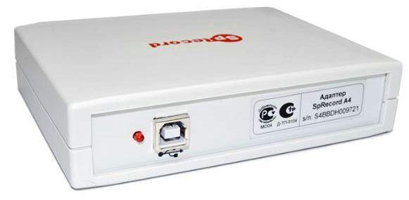 Подключение адаптера SpyRecord A к реализовано через стандартный разъём USB на торцевой части корпуса