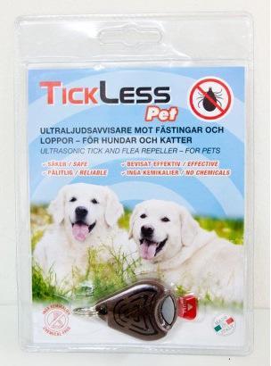Ультразвуковой отпугиватель клещей TickLess Pet в упаковке