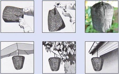 """Схематичное изображение возможных вариантов крепления отпугивателя ос """"Weitech WK-0432"""""""