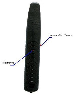 """Рукоять ракетки от комаров """"Weitech WK0071"""". На ней располагаются: кнопка """"Пуск"""" и рабочий светодиод"""