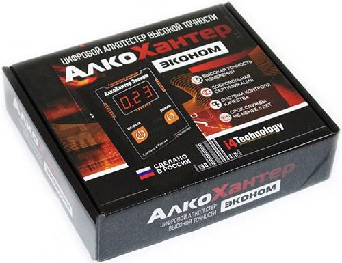"""Алкотестер """"AlcoHunter Эконом"""" поставляется в подарочной информативной упаковке"""