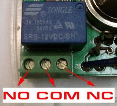 Контакты для подключения датчика утечки газа к контрольной панели