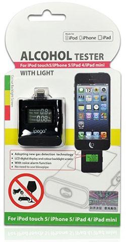 Алкотестер IPEGA для iPhone 5/iPod touch 5G/iPad 4/iPad mini поставляется вот в такой блистерной упаковке