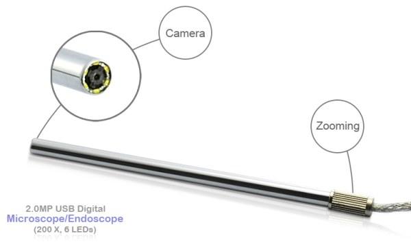 Вращающийся регулятор кратности увеличения находится на конце цифрового микроскопа-эндоскопа Микрон эндоскоп 2 Mpix