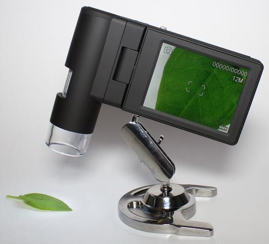 С металлической подставкой изображение на портативном микроскопе Микрон Mobile будет оставаться четким и несмазанным