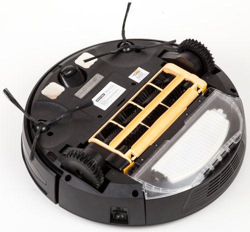 """Нижняя панель робота-пылесоса """"Robo-sos LR-450"""" включает в себя два ведущих и одно рулевое колесо, систему щеток, УФ-лампу и датчики предотвращения падений"""