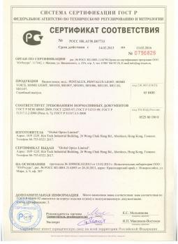 """Сертификат соответствия на видеоглазок SITITEK """"PentaLux"""""""