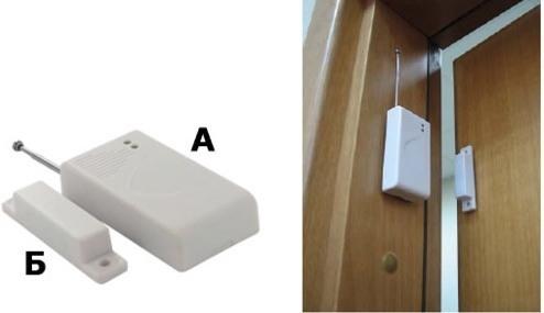 Беспроводный датчик открывания двери срабатывает, если дверь приоткрыта на 1,5-3 сантиметра