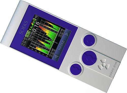 """Дозиметр """"СОЭКС 01М"""" Прайм имеет большой цветной экран и корпус с прорезиненным покрытием (нажмите для увеличения)"""