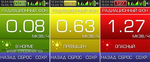 Показатели радиоактивного фона отображаются на экране дозиметра