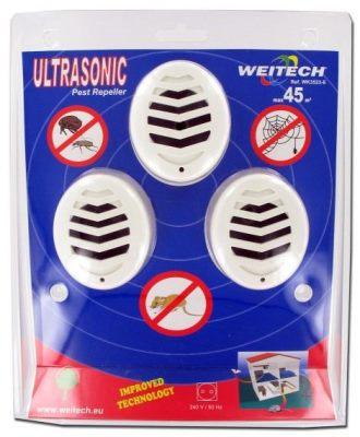 Комплект из 3 ультразвуковых отпугивателей грызунов и насекомых Weitech WK3523 в упаковке