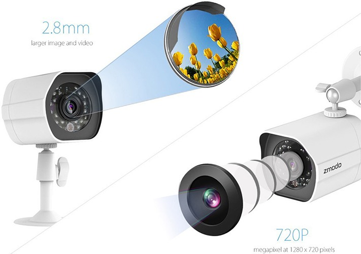 """Камеры видеокомплекта """"Zmodo PoE Офис"""" имеют матрицы на 1 Мп, что обеспечивает прекрасное качество снимаемого видео (нажмите на изображение, чтобы увеличить)"""